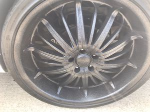 22 inch candy black rims with tires for Sale in Everman, TX