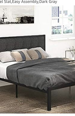 Queen Size Metal Bed frame with Dark Gray Upholstered Headboard for Sale in Brier,  WA