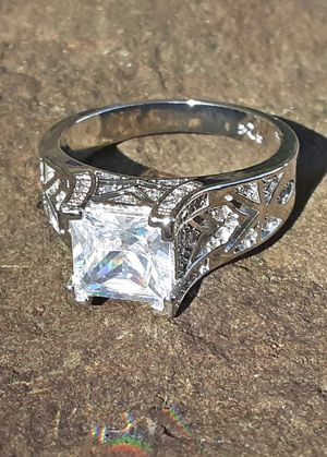 White Sapphire Silver Ring Size 10 Stamped 925 for Sale in Union, WA