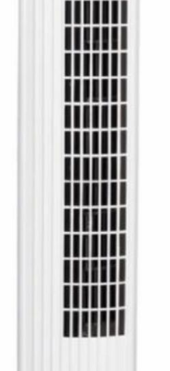 28 in. White Oscillating Tower Fan with 3 Wind Speeds for Sale in Riverside,  CA
