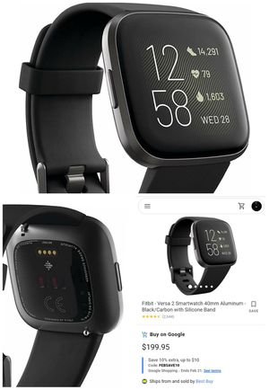 Fitbit Versa 2 Health & Fitness Smartwatch with Heart Rate, Music, Alexa Built-in, Sleep & Swim Tracking, Black/Carbon for Sale in Los Angeles, CA