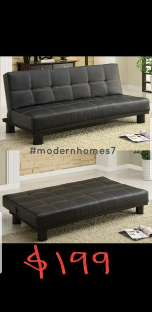 black leather sofa bed sleeper couch futon for Sale in Fontana, CA