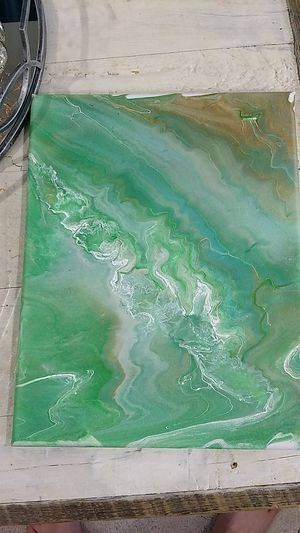 Blue gold whit green acrylic painting hand made for Sale in Potomac Falls, VA