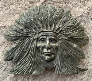 Vintage 1971 Pewter Native American Chief w/ Head Dress Belt Buckle for Sale in Los Angeles, CA