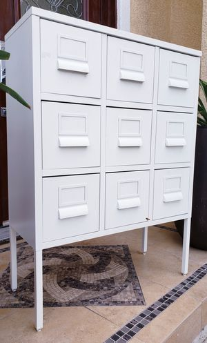 Beautiful IKEA White SMALLMetal 9 Drawers Dresser Chest Storage Organizer Unit Stand Buffet Console Table for Sale in Monterey Park, CA