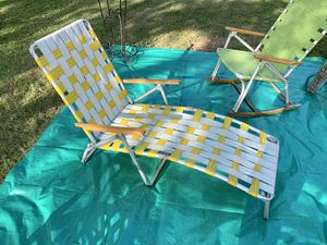 L🌞🌞K Vintage Folding Aluminum Webbed Chaise Lounge Lawn Chair Wood Arms for Sale in Monroeville, PA