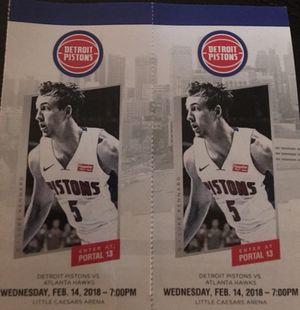 Two Tickets - Detroit Pistons vs Atlanta Hawks - Wednesday 2/14 for Sale in Detroit, MI