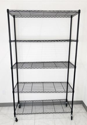 "New in box $90 Metal 5-Shelf Shelving Storage Unit Wire Organizer Rack Adjustable w/ Wheel Casters 48x18x82"" for Sale in Whittier, CA"