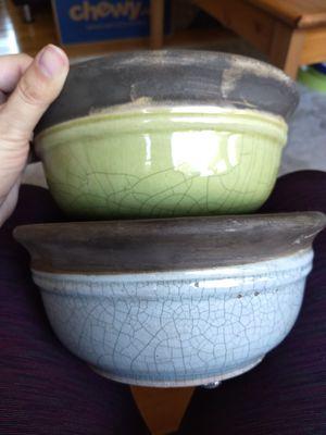 Ceramic planters bowls grey blue green for Sale in Newport News, VA