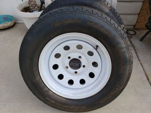 Used Trailer Tires 205 / 75 / 15 , w/ 5 lug White Rims for Sale in Upland, CA
