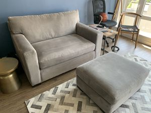 Crate and Barrel Loveseat and ottoman for Sale in Oakland, CA