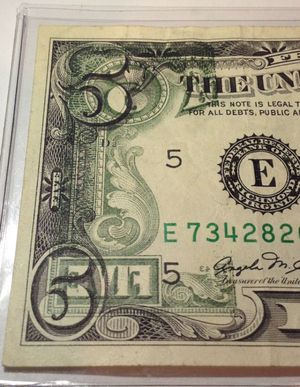 RARE Huge Printing Offset Error 1981 $5 Dollar Bill- Back to Front Offset Print- Highly Valuable Error Bill for Sale in Fairfax, VA