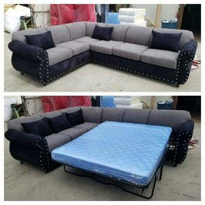 NEW 7X9FT CHARCOAL MICROFIBER COMBO SECTIONAL WITH SLEEPER COUCHES for Sale in Ontario, CA