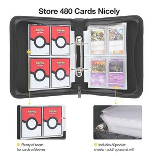 4-Pocket Zippered Binder for Pokemon Cards, Fits 480 Cards with 60 Removable Sheets, Portable Cards Collector Album for Trading Card Games for Sale in Travelers Rest, SC