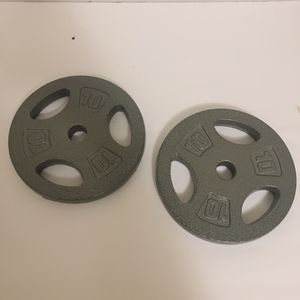 """LOT of TWO- 10-pound CAP 1"""" STANDARD barbell dumbbell Weight Plates 20 lb TOTAL for Sale in Atlanta, GA"""