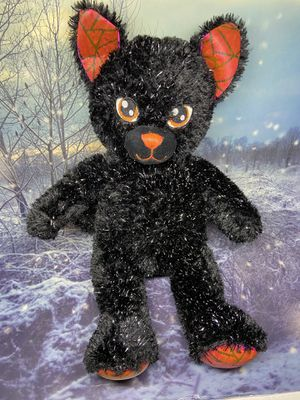 "Build a Bear Night Magic Cat 19"" plush toy. Sparkly soft fur stuffed animal, black Halloween cat plushie from bab workshop for Sale in Long Beach, CA"