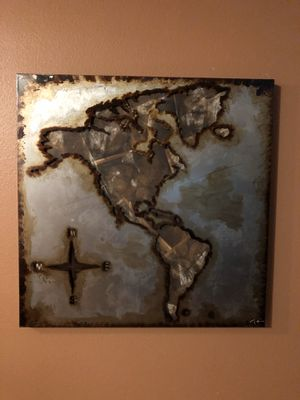 Tin/Canvas Map of North & South America for Sale in Rancho Cucamonga, CA