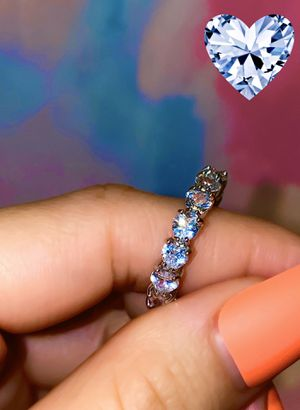 Heart cut diamond 14 k white gold filled tennis ring 6-9 for Sale in Lake Elsinore, CA