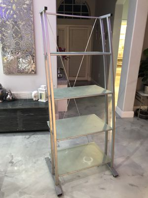 Metal shelf with glass shelves for Sale in Land O' Lakes, FL