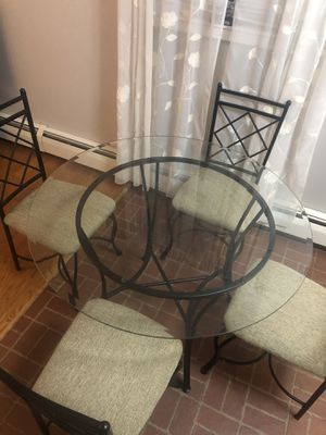 Glass Table & 4 Chairs- good condition for Sale in Roselle, NJ