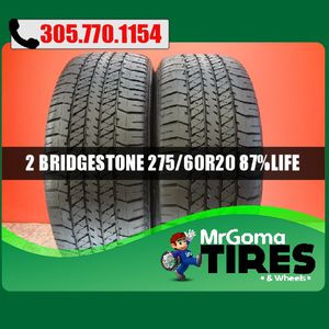 2 BRIDGESTONE DUELER H/T 684 II 275/60/20 USED TIRES 8.7/32 114H DODGE 2756020 for Sale in Miami Gardens, FL