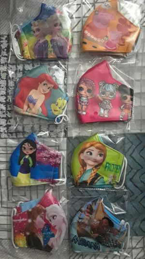 KIDS MASKS FOR GIRLS THICK MATERIAL ( FROZEN, PEPPA PIG, LOL SURPRISE, PRINCESS ARIEL, MULAN & MOANA) $5 EACH ONE ✔✔✔PRICE IS FIRM✔✔✔ for Sale in Bell Gardens, CA