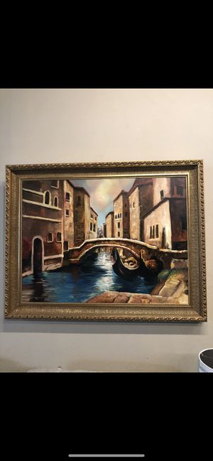 Original Oil Painting of Venice, Italy with 5 inch gold leaf frame for Sale in Loudon, TN
