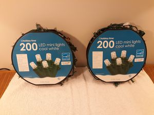 (2) LED Christmas Light Spools Cool White 200 count 50' long. for Sale in Washington, IL