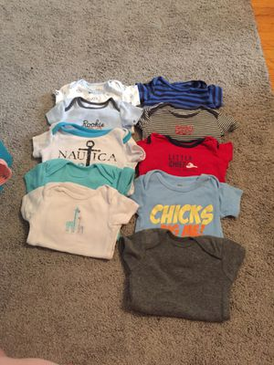 10 short sleeve onesies. 8 long sleeve onesies. 3 pants. 15 sleeper onesies. 4 jackets 3 hats. All sizes 0-3 and 3month for Sale in Huntersville, NC