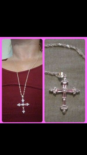 Sterling silver Cross w/pink & white crystals.matching 38in s.s necklace for Sale in Glen Burnie, MD