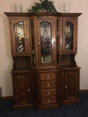 "Beautiful Oak Buffet Hutch...solid Oak wood...58""Wx77""Hx17.5/8""D. for Sale in Indianapolis, IN"