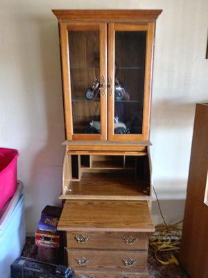 Rolltop desk/dresser/lighted hutch for Sale in Stockton, CA
