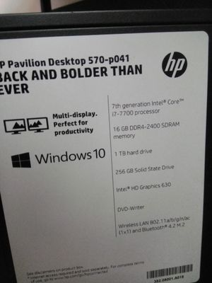Used but almost HP computer desktop with 2yrs remaining on the Eset Smart Security Antivirus program. for Sale in Silver Spring, MD