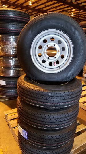 NEW TRAILER TIRES AND WHEELS ST225/75R15 10PLY ON 6 LUG SILVER BULLET WHEELS $110 for Sale in Douglasville, GA
