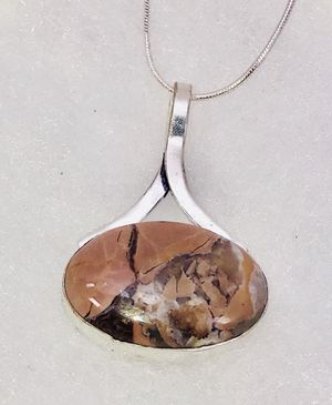Natural Butterfly 🦋 Jasper large oval stone & .925 stamped sterling silver necklace NEW! for Sale in Carrollton, TX