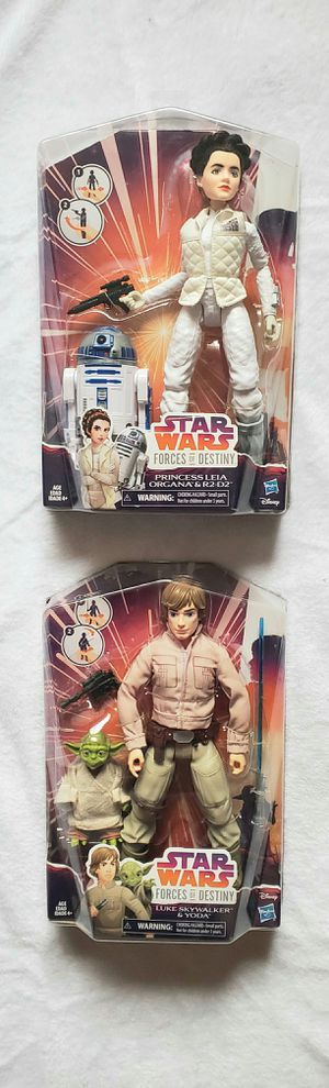 STAR WARS LUKE WITH YODA AND LEIA WITH R2D2 DOLL SET for Sale in Las Vegas, NV