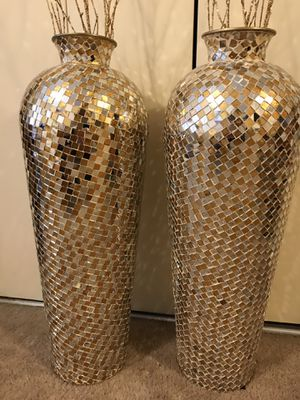 """Large 30"""" tall new set of 2 gold silver mosaic vases free bamboo sticks inbox me for Sale in Gaithersburg, MD"""