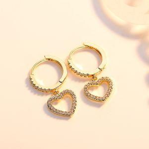 18k Gold Plated Full Rhinestone Circle Heart Clip on Huggie Hoop Earrings for Sale in Tustin, CA