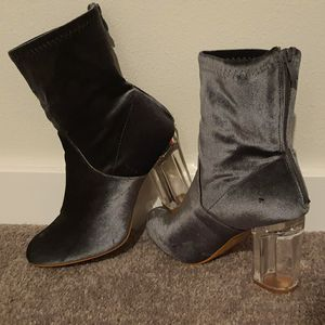 Blueish/greyish transparent heeled boots for Sale in Seattle, WA
