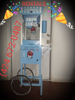 Snow cone machine, popcorn machine, hotdog roller machine, cotton candy machine, tables chairs, tents jumpers for Sale in Corona, CA