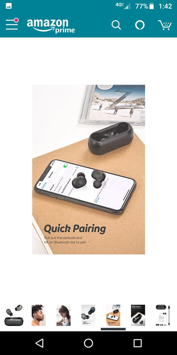 SoundPEATS TrueFree True Wireless Earbuds Bluetooth 5.0 in-Ear Stereo Bluetooth Headphones