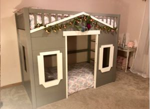 Twin Grey Loft playhouse bunk bed with stairs and wood slats!! Retail $1500 for Sale in San Diego, CA