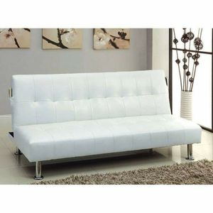 WHITE BONDED LEATHER SOFA FUTON ADJUSTABLE BED for Sale in San Diego, CA