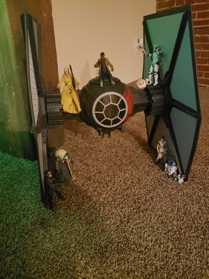 Star wars black series 6 in figures with tie fighter. 3 inch chewy and hot wheels space craft for Sale in Reading, PA