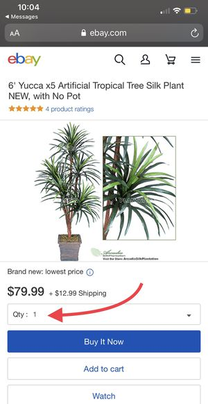 6' Yucca x5 Artificial Tropical Tree Silk Plant NEW, with No Pot for Sale in Red Oak, TX