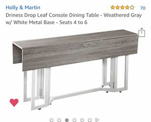 Holly & Martin drop leaf console dining table (amazon) weathered grey; seats 4-6 for Sale in Bainbridge Island, WA