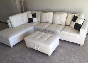 New white faux leather sectional couch with storage ottoman for Sale in Kent, WA