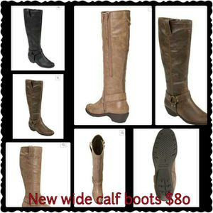 Brand new wide calf leather boots for Sale in Detroit, MI