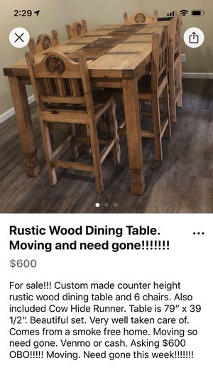 Reduced!!!! Moving and need gone!!!! Rustic Wood Dining table for Sale in Midland, TX