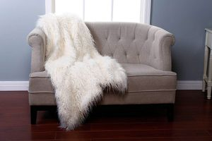 Mongolian Faux Fur Throw Blanket In Ivory for Sale in Mesa, AZ